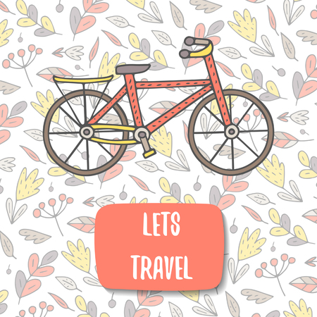 bike cover: Cute doodle postcard, card, cover with bike. Background with nature elements including flowers, plants, leaves, berries. Lets travel spring background