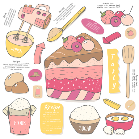 sugar spoon: Cute hand drawn doodle page with piece of cake. Food and objects set including spoon, sweets, flour, sugar, eggs, berries, arrows, mixer. Postcard, cover, infographic with cake ingredients