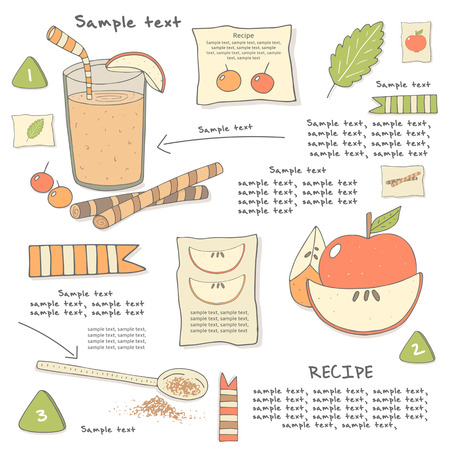 eggnog: Cute hand drawn doodle cocktail ingredients. Food and objects collection including berries, apple, cinnamon, mint, glass with drink, straw, spoon. Postcard, cover with beverage infographic