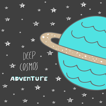 stargazing: Cute hand drawn doodle postcard with sky, stars, saturn, text space. Cosmic card, background. Deep cosmos adventure cover for children