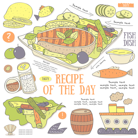 salt pepper: Cute hand drawn doodle page with fish steak recipe. Food collection including lemon, sauce, salt, pepper, cucumber, lettuce, olive, barrel. Postcard, cover, infographic with fish steak ingredients