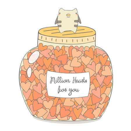 st  valentine's: Cute hand drawn doodle jar with hearts. Romantic card, postcard for st valentines day. Background with hearts, cat, text space