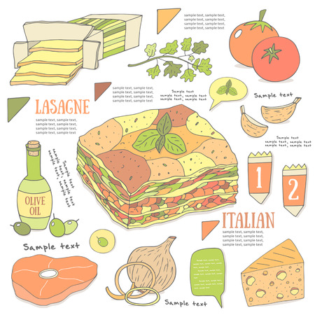 lasagna: Cute hand drawn doodle page with lasagne recipe. Food collection including cheese, tomato, onion,meat, parcel, garlic, olive oil, olives, basil. Postcard, cover, infographic with lasagne ingredients