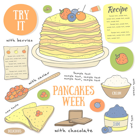 russian cuisine: Cute hand drawn doodle page with pancakes. Food and objects set including plate with pancakes, spoon with caviar, jam, berries, cream, chocolate. Postcard, cover, infographic with pancake ingredients