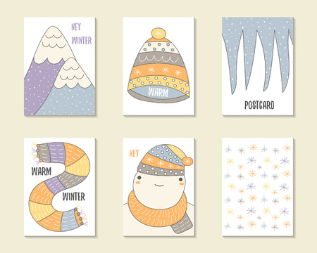icicles: Cute doodle winter theme cards, brochures, invitations with mountains, hat, icicles, scarf, snowman, snowflakes. Cartoon characters, objects background. Printable templates set
