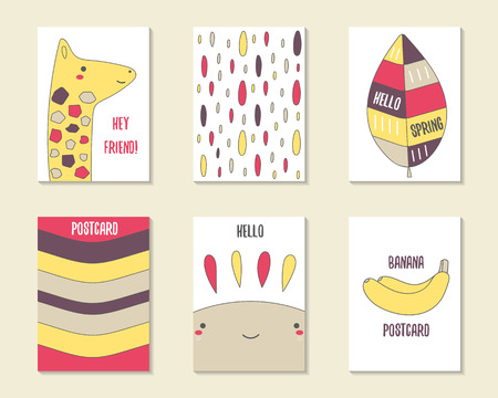 banana leaf: Cute doodle cards, brochures, invitations with giraffe, leaf, stripes, drops, sun, banana. Cartoon characters, objects background. Printable templates set Illustration