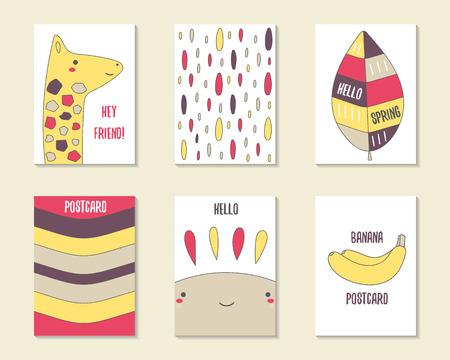 Tarjetas Lindas Del Doodle, Folletos, Invitaciones Con Jirafa, Hoja ...