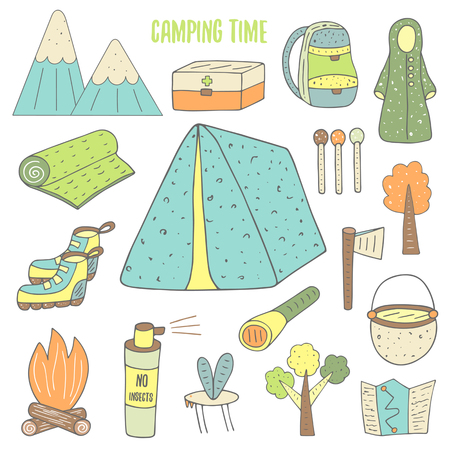 Cute hand drawn doodle camping objects collection including tent, mountains, backpack, carpet, snickers, fire, map, matches, tree, axe, mosquito, repellent, pan, lantern, first aid box. Camping icons Stock Vector - 54765955