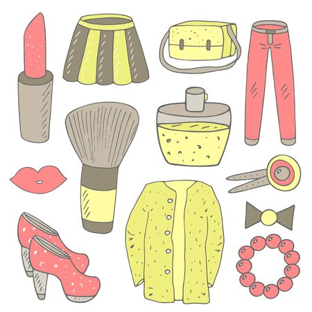 hair bow: Cute hand drawn doodle girl fashion objects collection including lipstick, skirt, bag, jeans, lips, blush brush, hills, sweater, perfume, hair pin, bow, bead bracelet