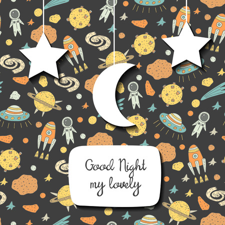 stargazing: Cute hand drawn doodle postcard, card with cosmic objects including star, rocket, spaceman, comet, alien ship, meteor, moon, galaxy. Good night cosmic background
