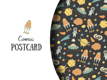 stargazing: Cute hand drawn doodle postcard, card with cosmic objects including star, rocket, spaceman, comet, alien ship, meteor, moon, galaxy. Cosmic background