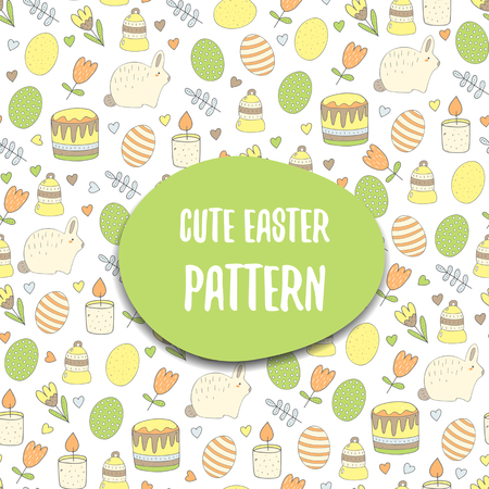 egg plant: Cute hand drawn doodle seamless easter pattern with egg, rabbit, candle, easter cake, flower, heart, berry, plant, bell. Easter postcard, cover with text space Illustration
