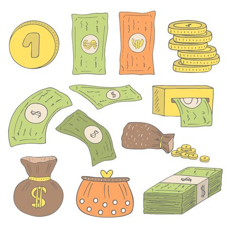 euro coins: Cute hand drawn doodle money collection including dollar, euro, coins, bag with money, purse, money pack, atm machine