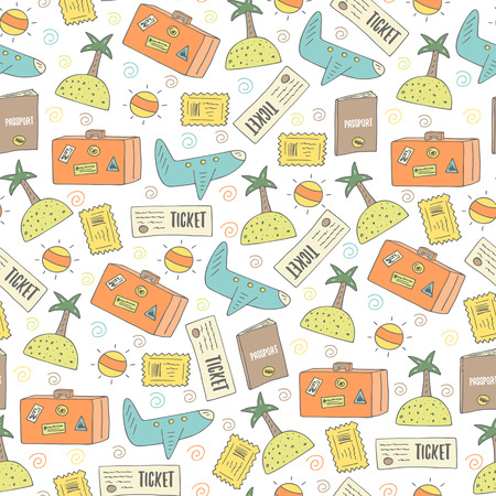 passport stamp: Cute hand drawn doodle travel seamless pattern with plane, sun, island, ticket, passport, stamp, luggage. Travel theme background, cover Illustration
