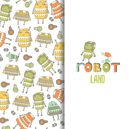 invent: Cute hand drawn doodle postcard, card with steampunk robots. Robot land background Illustration