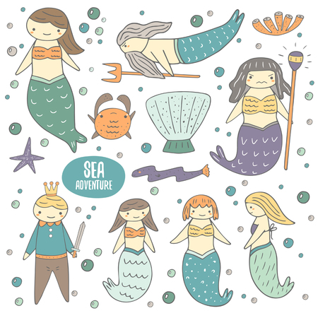 naiad: Cute hand drawn doodle mermaid fairy tale characters and objects collection including girl mermaid, father mermaid, witch, mermaid, girlfriends mermaids, prince, shell, crab, coral, eel, star, bubbles