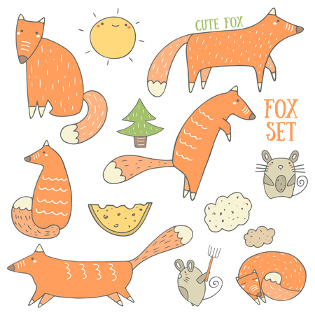 clever: Cute hand drawn doodle fox and forest objects collection including sitting fox, hunting fox, running fox, sleeping fox, christmas tree, cheese, mouse, cloud, sun