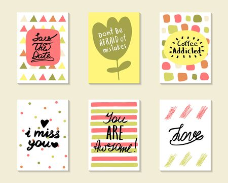 Cute hand drawn doodle postcards, cards, covers with different elements and quots including love, i miss you, you are awesome, coffee addicted, save the date. Positive printable templates set