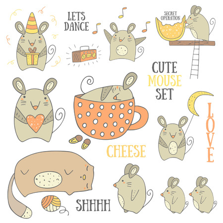 mouse: Cute hand drawn doodle mouse collection including mouse with gift, mouse with heart, mouse with moon, mouse with cheese, sleeping mouse, dancing mouse, mom mouse with babies near the cat. Mice icons