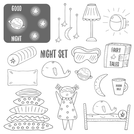 blindfold: Cute hand drawn doodle night, sleep theme objects collection including lamp, pillow, bed, cup of milk, moon, saturn, stars, sleepy girl, whale, night sky, book with fairy tales, night blindfold