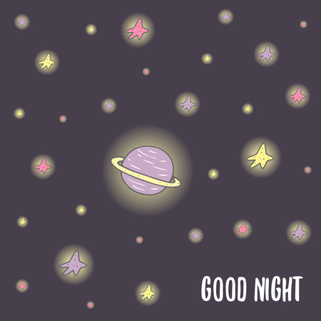 stargazing: Cute hand drawn doodle good night postcard, card, cover with saturn planet and stars. Cosmic background