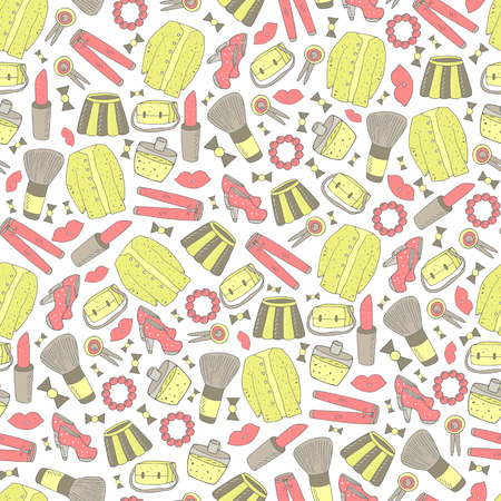 fittings: Cute hand drawn doodle girl fashion objects seamless pattern. Pattern with lipstick, skirt, bag, jeans, lips, blush brush, hills, sweater, perfume, hair pin, bow, bead bracelet. Illustration