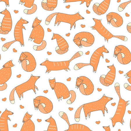 fox: Cute hand drawn doodle fox seamless pattern with sitting fox, hunting fox, running fox, sleeping fox. Pattern for fabric, cover, gift paper