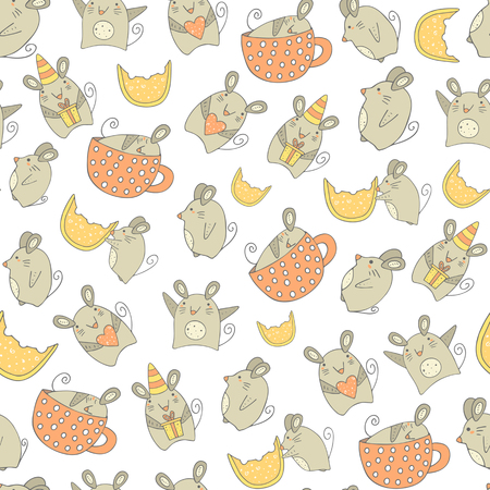raton caricatura: Cute hand drawn doodle mouse seamless pattern with mouse with gift, mouse with heart, mouse with cheese, sleeping mouse, dancing mouse.Pattern for wrapping paper, cover, fabric Vectores