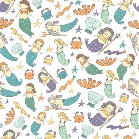 Cute hand drawn doodle mermaid fairy tale seamless pattern with girl mermaid, father mermaid, witch mermaid, girlfriends mermaids, shell, crab, coral, eel, star