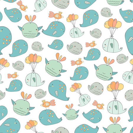 whale baby: Cute hand drawn doodle whales seamless pattern with whale with balloons, mum and baby whale, whale with bird.Pattern for wrapping paper, cover, fabric