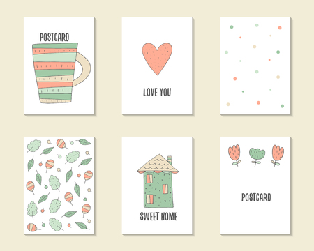 cute house: Cute hand drawn doodle birthday, party, baby shower cards, brochures, invitations with cup,heart, polka dots, leaves, flowers, house. Illustration