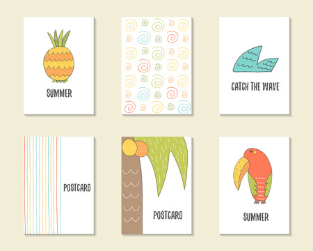 cartoon pineapple: Cute hand drawn doodle birthday, party, baby shower cards, brochures, invitations with pineapple, wave, palm, coconut, toucan, swirls, stripes. Cartoon objects background. Printable templates set