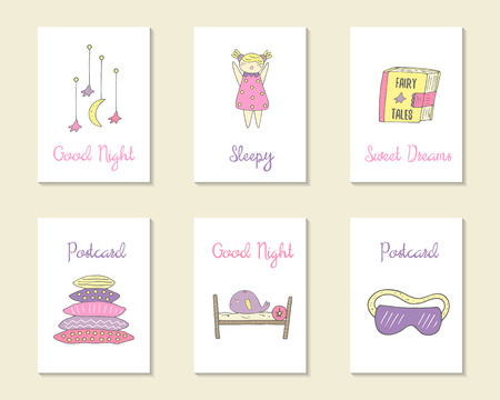blindfold: Cute hand drawn doodle cards, brochures, invitations with pillow, bed, moon, stars, sleepy girl, whale, book with fairy tales, night blindfold. Cartoon objects background. Printable templates set