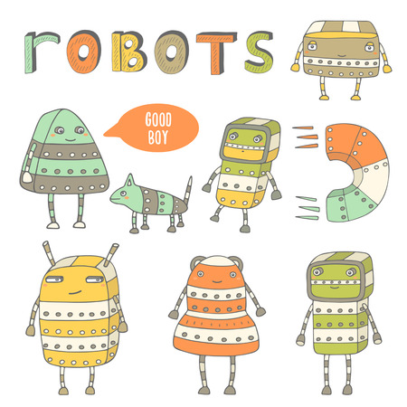 punk: Cute hand drawn doodle steam punk robots collection. Robots characters icons set Illustration