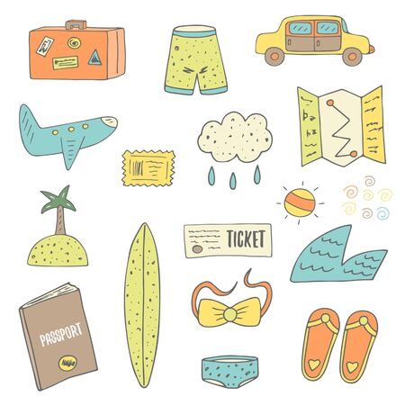 passport stamp: Cute hand drawn doodle travel objects collection including plane, sun, island, ticket, passport, stamp, luggage, rainy cloud, swimsuit, shorts, wave, map, car, surf. Travel theme background, cover Illustration