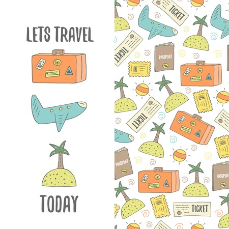 passport stamp: Cute hand drawn doodle travel postcard with plane, sun, island, ticket, passport, stamp, luggage. Travel theme background, cover