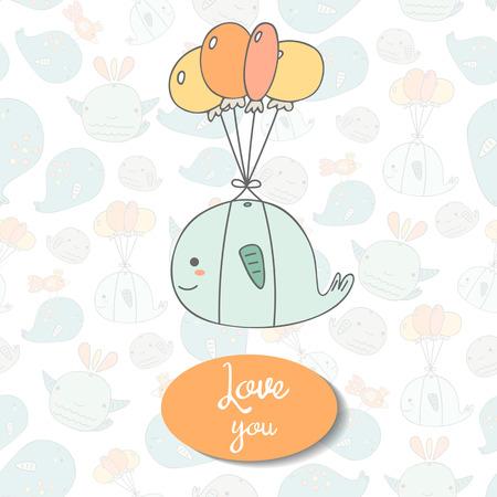 caricatura mosca: dibujados mano linda del doodle con la postal de la ballena volar, globos, espacio de texto. Te amo tarjeta, cubierta, fondo