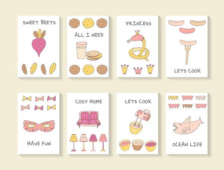 cartes mignonnes dessinés à la main doodle baby shower, brochures, invitations avec battement, biscuit, verre de lait, serpent, couronne, saucisse, fourchette, masque, canapé, lampe, table de mixage, le requin. objets de dessins animés, animaux fond