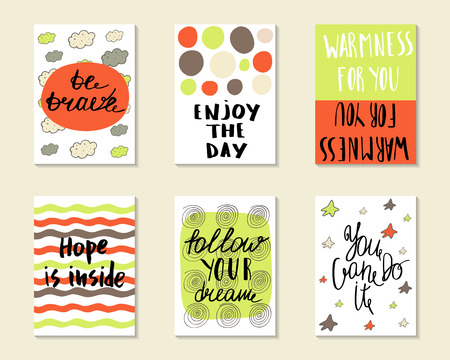 warmness: Cute hand drawn doodle postcards, cards, covers with different elements and quotes including be brave, enjoy the day, hope is inside, follow your dream, you can do it. Printable templates set