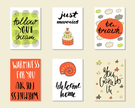 warmness: Cute hand drawn doodle postcards, cards, covers with different elements and quotes including be brave, just married, welcome home, follow your dream, you can do it. Printable templates set