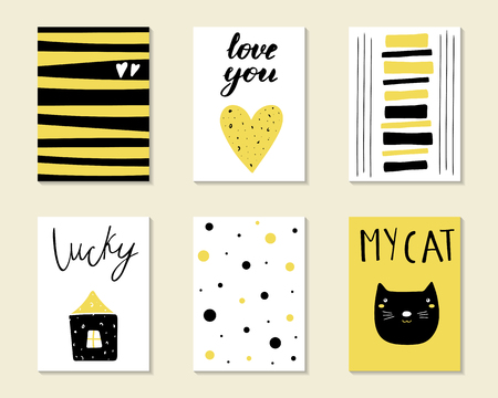 Cute hand drawn doodle birthday, party, baby shower cards, brochures, invitations with cat, house, heart, polka dots. Cartoon objects, animals background. Black and golden printable templates set Ilustracja