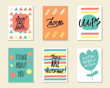 Cute hand drawn doodle postcards, cards, covers with different elements and quotes including love, think about you, you are awesome, ooops, save the date. Positive printable templates set Illustration