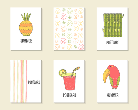 ananas: Cute hand drawn doodle birthday, party, baby shower cards, brochures, invitations with ananas, bamboo, cocktail, toucan, swirls, stripes. Cartoon objects background. Printable templates set