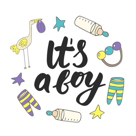 Cute hand drawn doodle baby shower card, cover, background with stork, bottle with milk, stars, sliders, rattle. It is a boy lettering postcard.