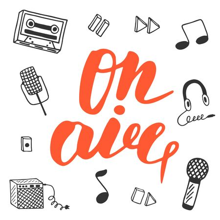combo: Cute hand drawn postcard with musical objects collection including note, earphones, microphone, recoder, recoder buttons, combo, tape. On air lettering banner for radio, television