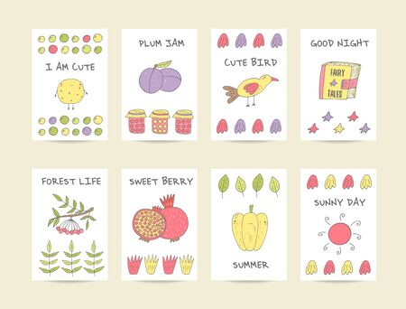 granade: Cute hand drawn doodle baby shower cards, brochures, invitations with cookie, plum, bird, granade, pepper, jam, sun, pomegranate, viburnum, fairy tale book, stars. Cartoon objects, animals background