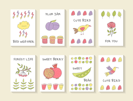 viburnum: Cute hand drawn doodle baby shower cards, brochures, invitations with cloud, plum, bird, rose, granade, bean, jam,lightenin, pomegranate, viburnum, hummingbird . Cartoon objects, animals background