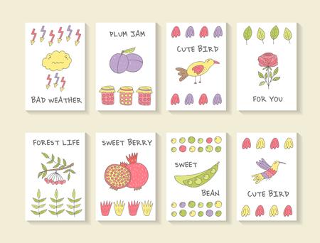 granade: Cute hand drawn doodle baby shower cards, brochures, invitations with cloud, plum, bird, rose, granade, bean, jam,lightenin, pomegranate, viburnum, hummingbird . Cartoon objects, animals background