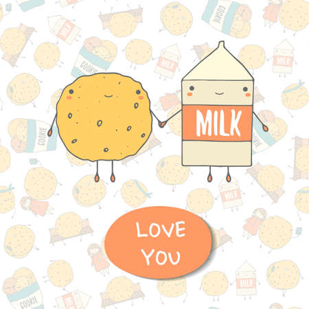 dainty: Cute hand drawn doodle postcard with cookie and milk. Love you postcard. Postcards about food, love, relationship, friendship Illustration