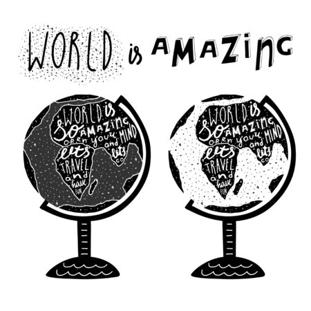 t shirt print: Hand drawn black globe logo with lettering quotes. Lets travel and have fun. Postcard, background with globe and grunge texture. Globe logo for travel sphere, tourism, agency, world map, t shirt print